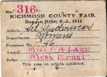 Image of Richmond County Fair tag for underwear set, 1912