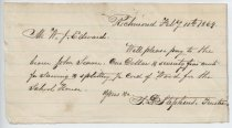 Image of Note re. wood for school, Richmond, Feb. 7, 1869  (Series 3, inserted item)