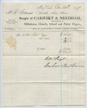 Image of Receipt for St. Andrew's Church organ purchase, 1867 (Series 4, folder 11)