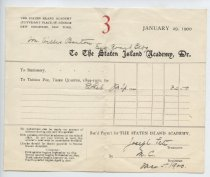 Image of Tuition bill, The Staten Island Academy, Jan 29, 1900 (Series 5, folder 11)