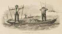 Image of detail, The Oyster Business--Raking For Oysters.