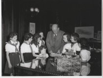 Image of Cornelius Hall with Campfire Girls, photo by Herbert A. Flamm, 1946-1953
