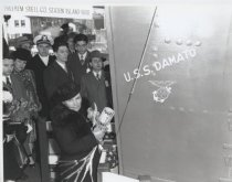 Image of U.S.S. Damato launch, photo by Herbert A. Flamm, 1945