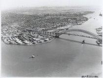 Image of Aerial view of Bayonne Bridge, photo by Herbert A. Flamm, 1951