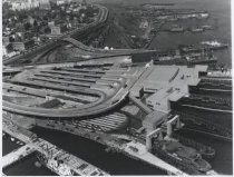 Image of Aerial view of St. George ferry terminal, photo by Herbert A. Flamm, 1950