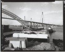 Image of Barge near Bayonne Bridge, photo by Herbert A. Flamm, 1948