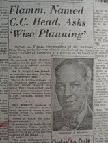Image of news clipping about Herbert Flamm, February 24, 1955 (upper portion)