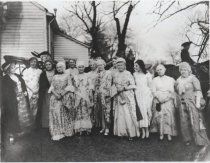 Image of Group in colonial costume outside Perine House, 1932 (b&w copy print)