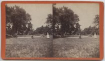 Image of Lawn tennis court showing sisters, cousins + young friends - Stereoview