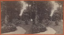 Image of Path to greenhouses, sister Linda, photo by Isaac Almstaedt, ca. 1880-1885