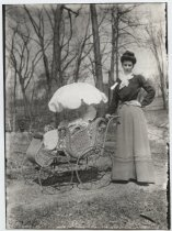 Image of Kathryn & Marjorie in her go cart on our front walk - Print, Photographic
