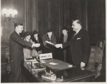 Image of Group with Borough President Palma, photo by Weitzman's, ca. 1934-1944