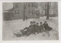 Image of [Boys on bobsled] - Print, Photographic