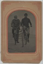Image of Two men on a duplex bicycle, photo attributed to John E. Lake, ca. 1896