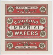Image of Carlsbad Imperial Wafers label (MS044.002, folder 7.3)