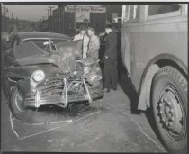 Image of Auto and bus accident, photo by Herbert A. Flamm, 1954