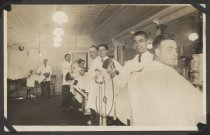 Image of [Barbershop interior] - Postcard