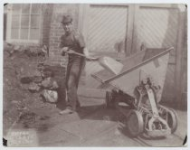 Image of [Man with cart and shovel, C.W. Hunt Company] - Print, Photographic