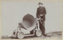 Image of [A.S. Granger with bucket cart, C.W. Hunt Company] - Print, Photographic