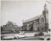 Image of Sacred Heart Church, photo by Herbert L. Van Cott, 1949