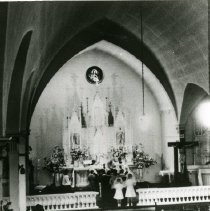 """Image of Print, Photographic - Copies: 1 ( 1 copy)   """"Present and third Sacred Heart Catholic  Church at Gervais, on  6-18-1923. Before  remodling."""" (back)"""