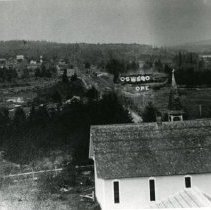 """Image of Print, Photographic - Copies: 1 ( 1 copy)   """"Oswego ORE."""" (front of image)  """"about 1909 Oswego Methodist Church in  foreground The trickle of water below the R.R. tracks was called the  Duck Pond then -  now 'The Lagoon.'"""" (back)"""