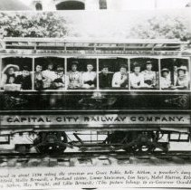 """Image of Print, Photographic - Copies: 2 ( 2 copies)   """"Pictured in about 1894 riding the street car are Grace Pohle, Belle Aitken, a preacher's daughter, Cora  Litchfield, Mollie Bernardi, a Portland visitor, Linnie Stutesman, Lou Sayer, Mable Hutton, Ethel Hughes, Mary Aitken, May Wright, and Lille Bernardi. (This picture belongs to ex-Governor Oswald West.)"""" (front of image)"""