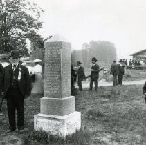 """Image of Print, Photographic - Copies: 1 ( 1 copy)   """"-Francis X. Matthieu at the Champoeg Monument-"""" (back)"""