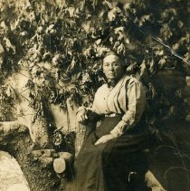 "Image of Print, Photographic - Copies: 2 ( 1 original on postcard, 1 copy)   ""Mrs. Gus Raymond nee Mongrain"" (back of original)   ""Josephine (Mongrain) Raymond"" (back of copy)"
