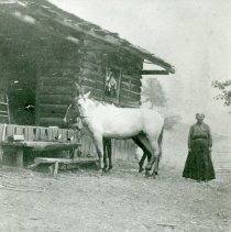 """Image of Print, Photographic - Copies: 2 ( 1 copy, 1 cropped copy)   """"Susanne Nonta (Thomason"""" (back of one copy)   """"Susan Nonta Thomason, widow of William  Thomason, veteran of the War with Mexico, at the ranch house at Drew, about 1880."""" (back of cropped copy)"""