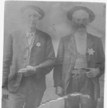 """Image of Print, Photographic - Copies: 1 ( 1 copy)  """"Left to right - Alfred Lambert and Narcisse Manegre"""" (back)"""