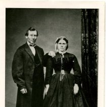 """Image of Print, Photographic - Copies: 1 ( 1 copy)  """"One Allen Gulch Family - Hya cinthe Caron adn Julia, Wedding picture (c. 1865) """" (back)"""