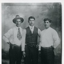 """Image of Print, Photographic - Copies: 1 (1 copy)  """"Sam Dumont - Louis Guilbleau - John Dumont"""" (back)"""