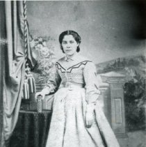 """Image of Print, Photographic - Copies:  3 (3 copies)  """"Daughter of Michel Laframbois           and Emelie Picard married  _____ Hillary"""" (back)  """"Anastasie Louise Laframbois dau. of Michel and Emelie  Laframboise 1844 - 1928 - - - Married Henry Hillary"""" (back)"""
