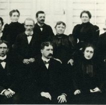 "Image of Print, Photographic - Copies:  1 ( 1 copy)  ""Daniel Kavenaugh family Back row, o. to r- Ann (Mrs. William McKay) 1862 Mary Martha (Mrs. Abe Clark) 1865 Ed ------------------------------------- 1867 Sarah (- Savage) - 1864 Andrew ---------------------------- 1861 Center Daniel Kavanaugh 1831 - 1903 Catherine Doyle 1837 - 1918 Front row, l. to r. Henry J.    1875 John Pius    1870 Mary 1880"" (back)"