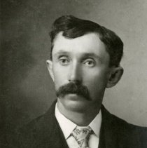 """Image of Print, Photographic - Copies:  1 (1 original)  """"Charles Hass 2nd husband of Mitilda Kirk  3 wife of Peter Kirk and step father of  Joe Kirk wnet in the army at 15 as bugle boy to clean up after General  Custer. The army said he was to young but let him be bugle boy"""" (back)"""