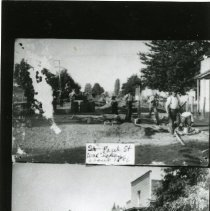"""Image of Print, Photographic - Copies: 1 ( 1 copy)   """"Man walking in  foreground    top Tom Storm  (p. F) - - - bottom picture  Emmett Kirk's Store."""" (back)"""