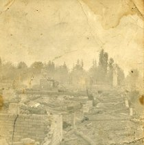 """Image of Print, Photographic - Copies: 2 ( 2 originals on postcards)   """"Ruins St. Paul Academy May 12 - 1911 Photo By B. Goeldl"""" (front of image)"""