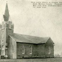 """Image of Print, Photographic - Copies: 3 ( 2 copies, 1 enlargement)   """"First brick church in Oregon, built at St. Paul, Marion County. Cornerstone laid May 24th,1846; dedicated Novemeber 1st the same year."""" (front of images)   """"St. Paul Catholic Church with part  of old Residance in the background"""" (back of one copy)"""