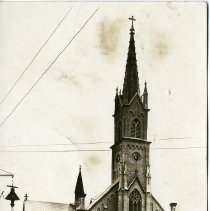 """Image of Print, Photographic - Copies: 1 ( 1 original on postcard)   """"Parish Church Mt. Angel OR."""" (front of image)"""