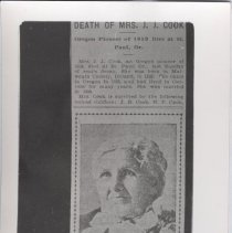 Image of Print, Photographic - Photograph of newspaper obituary for Mrs. J. J. Cook.