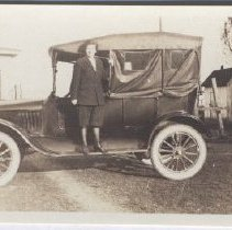 Image of Print, Photographic - Photo of Zoe Goffin with a 1921 Ford, picture taken in 1923.