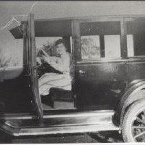 Image of Print, Photographic - Photograph of Zoe Goffin in her Uncle Jim Hannegan's 1923 Chevrolet Sedan.