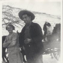 Image of Print, Photographic - Photograph at Riner Ranch of Charlotte Lulu Hinkle, Basile (Bert) DeLore, and Agnes Smith.  Also pictured is a horse by the name of Old Maude.