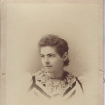 """Image of Card, Cabinet - Photograph printed on a card with a tissue cover and string wrap.  B.C. Towne photographer First & Morrison Portland, Oregon.  Noted on the back """"Aunt Carrie and Susie"""