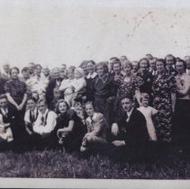 Image of Print, Photographic - Photograph of a large group of individuals of all ages.  There is no date, location, or mention of names.  On the back is a stamp from the St. Paul Mission Historical Society.