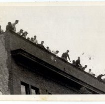 Image of A line of men and boys - Novia James White Photograph Collection