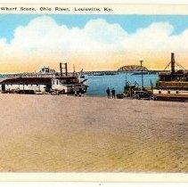 Image of Wharf Scene, Ohio River - Postcard Collection