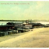 Image of River Front, showing Big Four Bridge, Louisville Kentucky - Postcard Collection