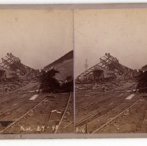 Image of Storm-damaged train yard - Subject Photograph Collection